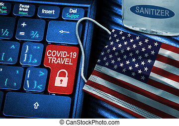 US COVID-19 Coronavirus Travel Restrictions Concept With American Flag