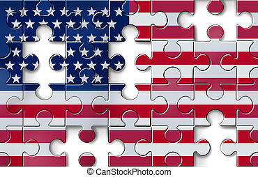 US Crisis - US crisis with the American flag in a jigsaw...