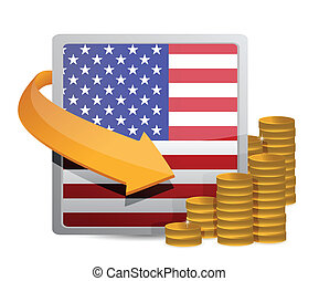 Us currency and flag illustration design over white