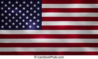 US dense flag fabric wavers, background loop - USA dense ...