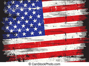 US dirty flag - A used patriotic US Flag with a texture