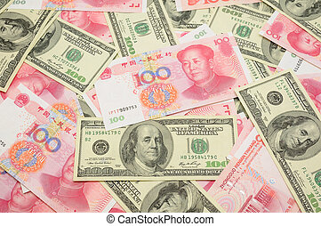 US dollar and China yuan background - Background of US one ...