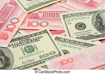 US dollar and China yuan closeup - Closeup of US dollar...
