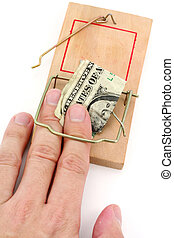 business trap - us dollar and Mousetrap, concept of business...
