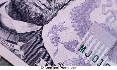 US dollar banknotes close-up. 4K video - US dollar banknotes...