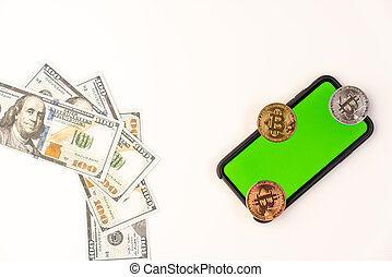 US dollar bills and bitcoin coins on a smartphone with green screen isolated on white background