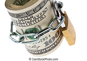 u.s. dollar bills are locked with a lock