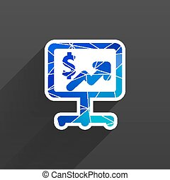 dollar blue glossy icon on white background