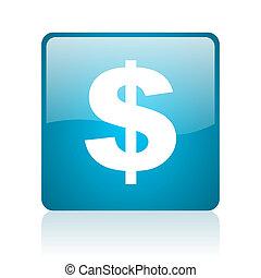 us dollar blue square web glossy icon