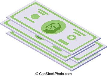 Us dollar cash icon isometric vector. Pay money
