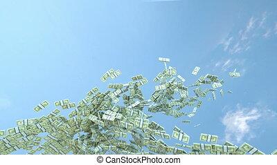 US dollar cash slow motion flow