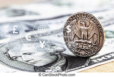 US dollar coin and banknote with icon virtual. The concept of currency exchange can be used worldwide, financial or world trade.