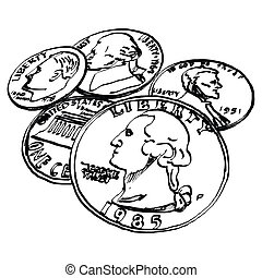US Dollar coin - Hand drawn