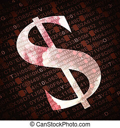 US dollar currency sign with numbers and letters on background