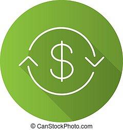 US dollar exchange flat linear long shadow icon