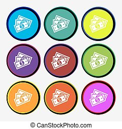 U.s dollar icon sign. Nine multi colored round buttons. Vector