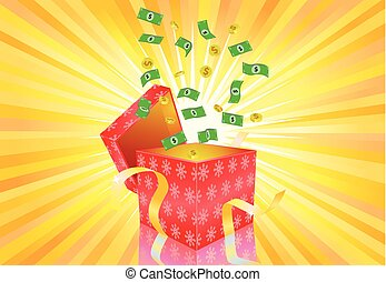 US Dollar money coming out of the gift box vector