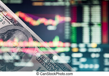 Us dollar on a trading chart, stock exchange or currency market. 100 bucks on Forex