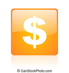 us dollar orange square glossy web icon