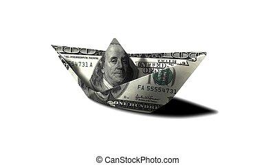 US Dollar paper boat