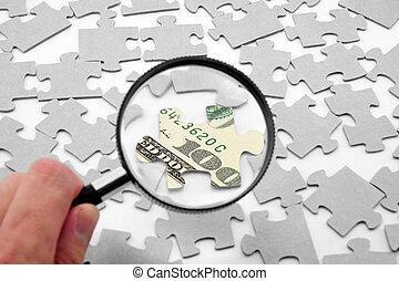 us dollar, puzzel, und, vergrößerungsglas