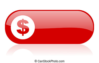 us dollar red web glossy icon