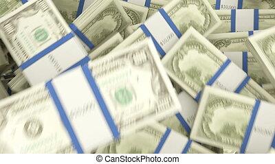 US dollar rolls slow motion flow. alpha