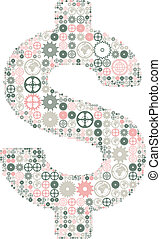 U.S. dollar sign made of colored gears.