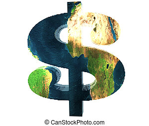 us dollar sign with earth texture