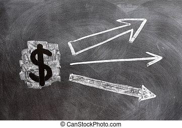 US Dollar symbol with up arrows written on blackboard
