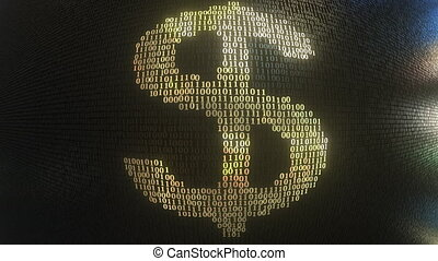 US Dollar USD symbol made with gold binary numbers, loopable...