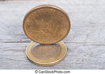 US dollar versus Euro concept