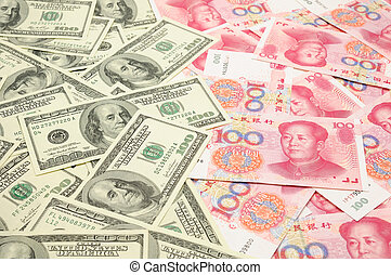 US dollar vs China yuan - Background of US one hundred...