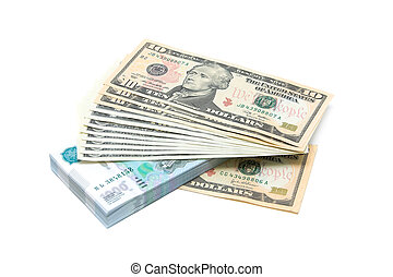 U.S. dollars and Russian rubles on a white background