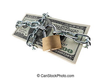 U.S. dollars banknotes with lock and chain.
