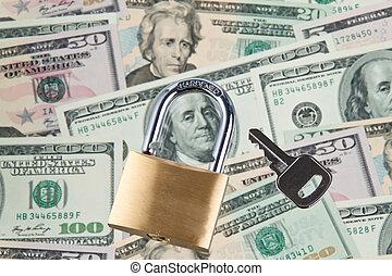 U.S. dollars banknotes with lock
