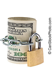 Many dollars bills are locked with a lock