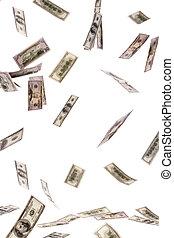 U.S. dollars bills flying through the air