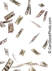 U.S. dollars bills flying through the air - Many dollars...
