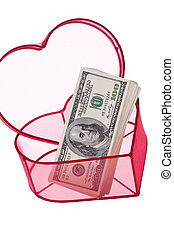 U.S. dollars bills in a heart