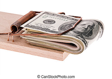 U.S. dollars bills in a mousetrap