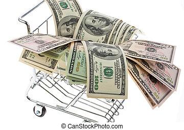 U.S. dollars bills in a shopping cart
