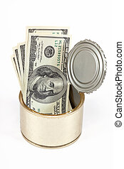 US dollars bills in tin can over white background