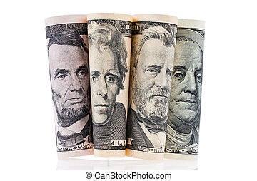 U.S. dollars bills. Portraits.