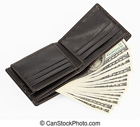US dollars in a black purse