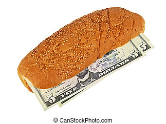 U.S. dollars in a bun, business concept