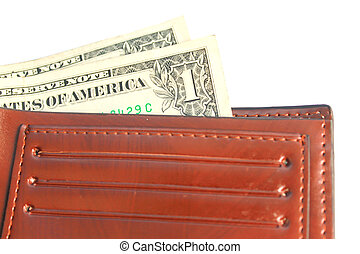 US dollars in a wallet isolated on white background