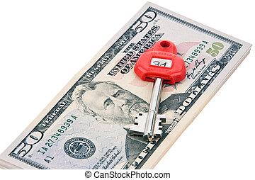 U.S. dollars notes and keys safe