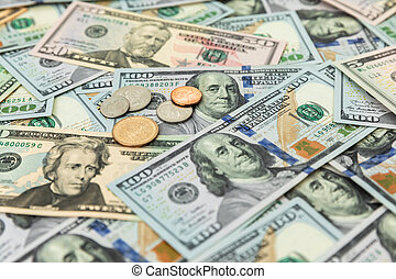 US dollars  pattern background of 5, 10, 20, 50 and 100 dollar bills.