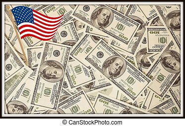 U.S. dollars with a flag in a frame